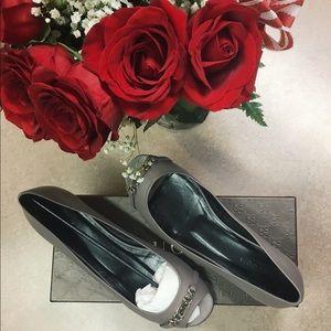 Gucci Nameplate Salandia Peep Toe Flats 39